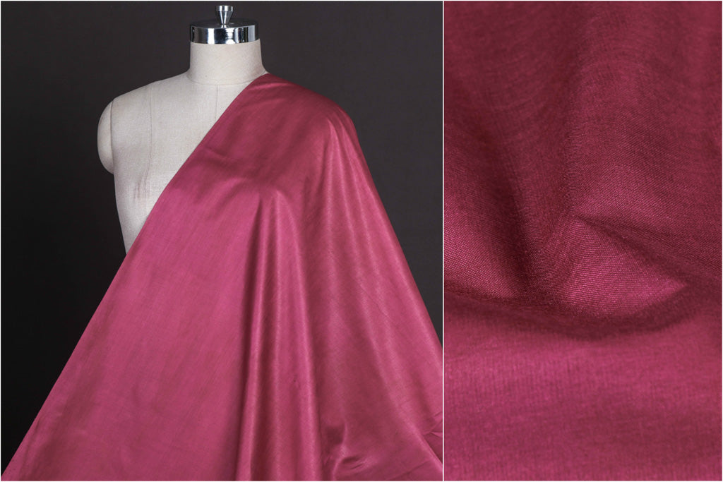 Dark Onion Pink - Vidarbha Tussar Silk Cotton Handloom Fabric
