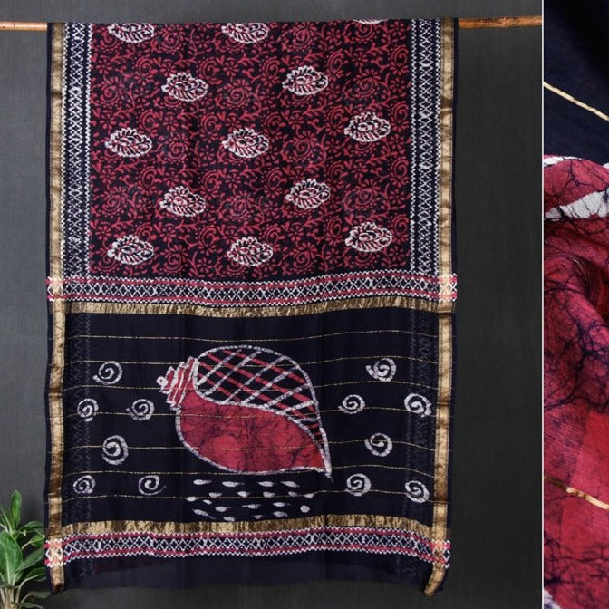 Hand Batik Print Maheshwari Silk Saree with Zari Border