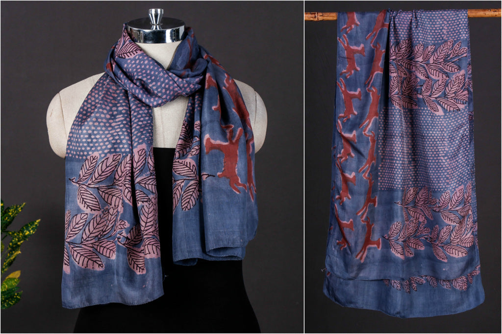 Forest Rain - Bindaas Art Block Print Handspun Handwoven Soft Mulberry Silk Stole