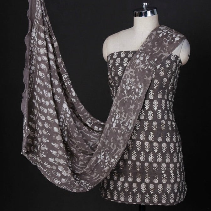 Bagru Block Printed Cotton 3pc Suit Material Set with Chiffon Dupatta