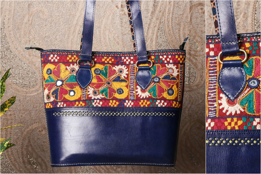 Handcrafted Kutchi Embroidery Leather Shoulder Bag