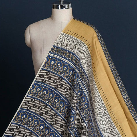 Special Ajrakh Block Printed Modal Silk Natural Dyed Fabric