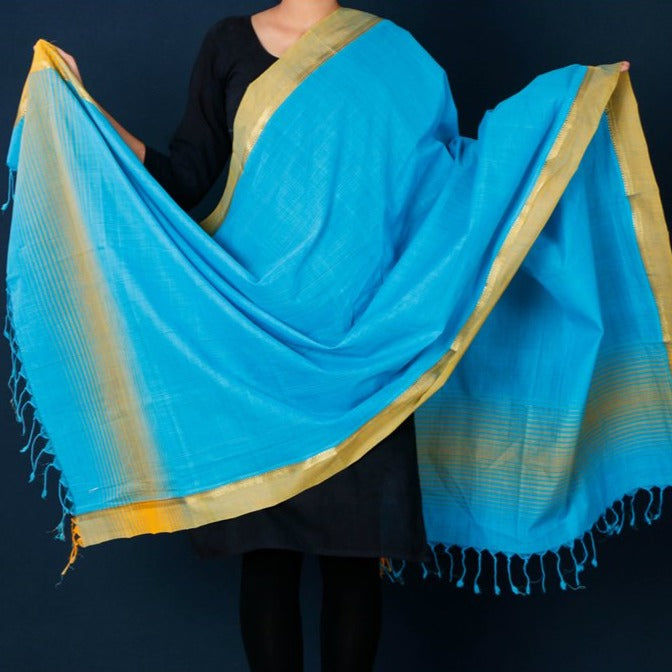 Mangalgiri Tarangini Cotton Handloom Dupatta with Tassels by DAMA