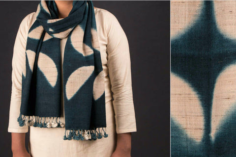 Clamp Dyed Shibori Silk & Wool Stole