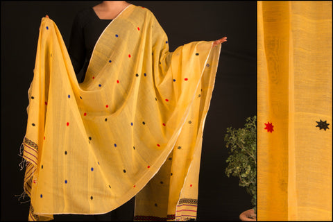 Handwoven Embroidered Assam Silk Cotton Dupatta