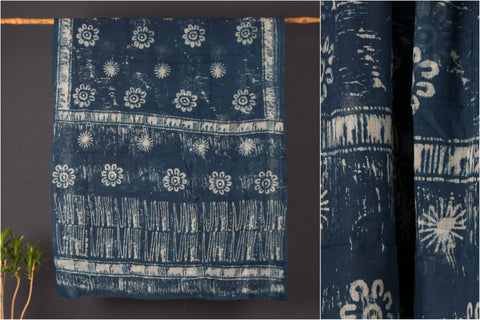 Indigo Block Print Kota Doria Cotton Saree