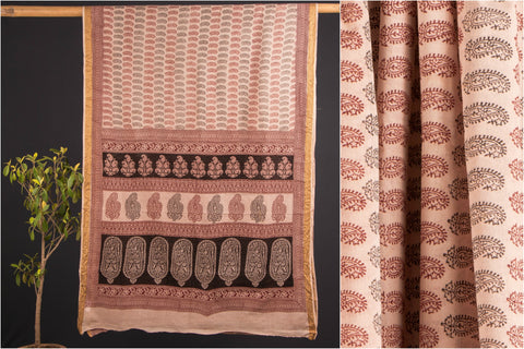 Bagh Block Print Cotton Saree with Zari