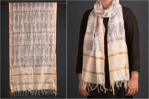 Chanderi Stole with Artfab-signature prints by Theartofsu