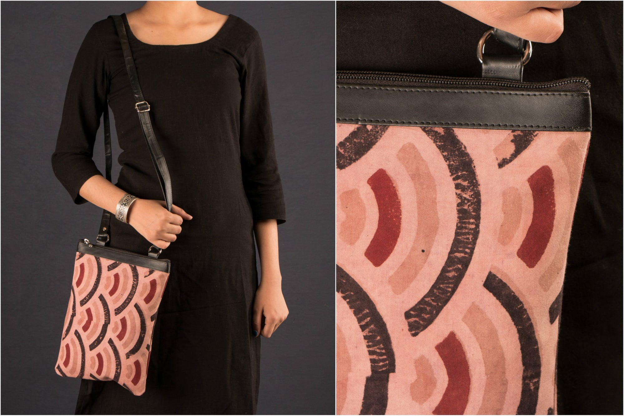 Designer Sling Bag with Block Print Fabric