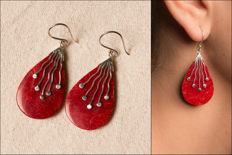 Coral Stone Sterling Silver Earring
