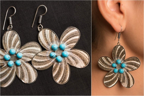 Handmade German Silver Bead Work Dristi Earring