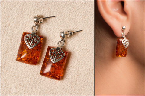 Amber Stone Sterling Silver Earring