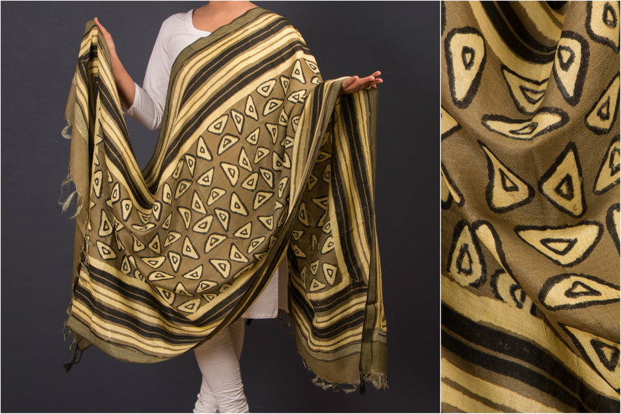 Pashmina Blend Chanderi Dupatta with Block Prints