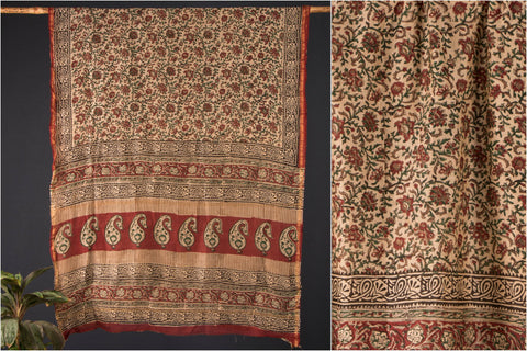Chanderi Silk Block Print Saree with Blouse