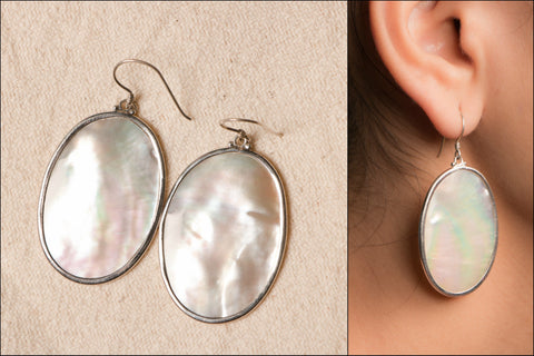 Natural Mop stone Sterling Silver Earring