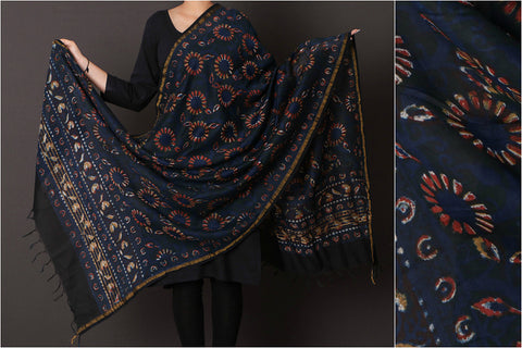 Bagru Dabu Block Printed Chanderi Silk Dupatta with Zari Border