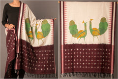 Gond Art Painted Pochampally Ikat Cotton Dupatta