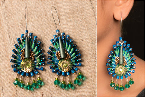 Peacock With Crystals Earring by Vrinda