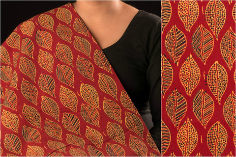 Chaar Kaam Ajrakh Block Print Natural Dyed Cotton Fabric