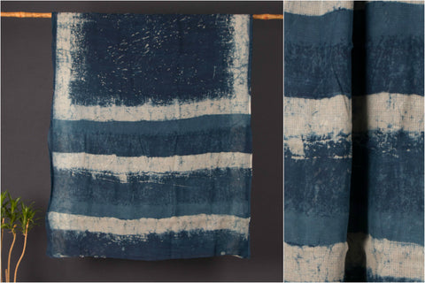 Indigo Kota Doria Cotton Saree