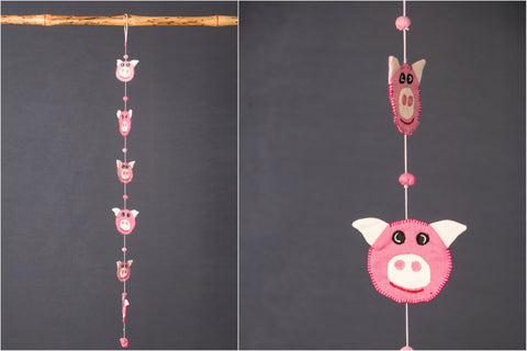 Pig Hanging With Fabric Ball by SASHA