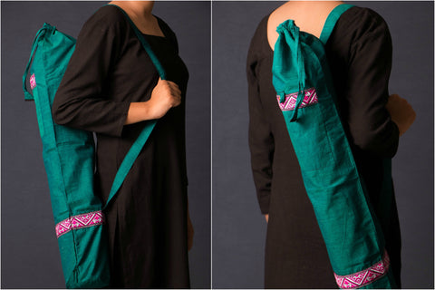 Yoga Mat Bag with Handwoven Assam Borders