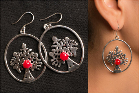 Handmade German Silver Bead Work Gitika Earring