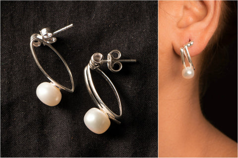 Natural Fresh Water Pearl Sterling Silver Earring