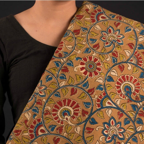 Kalamkari Screen Print Washed Cotton Fabric