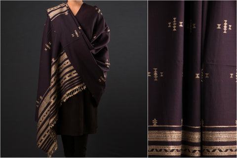 Tussar Silk Border Pure Woolen Shawl