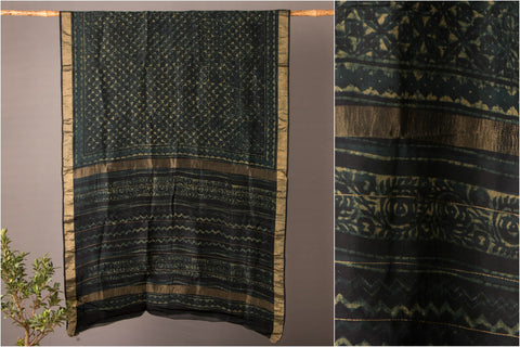 Chanderi Silk Akola Block Print Handloom Zari Border Saree