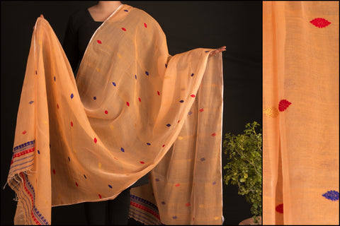 Handwoven Embroidered Assam Silk Dupatta