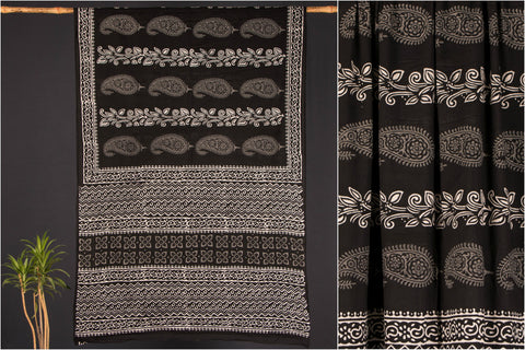 Kala Syahi Block Print Cotton Saree
