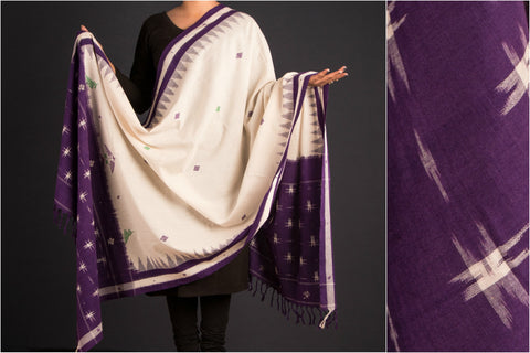 Kasuti Embroidered Pochampally Ikat Cotton Dupatta