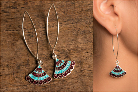 Kora Long Hook Silver Meenakari Earring