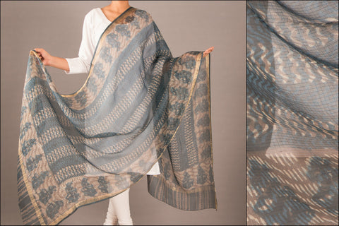 Special Kota Silk Dabu Dupatta with Zari Border