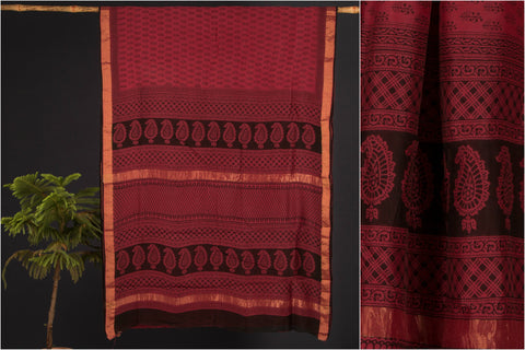 Bagh Print Chanderi Silk Saree by Rauph Khan