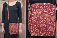 Double Pocket Block Print Fabric Sling Bag