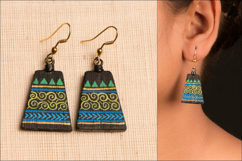 Bamboo Earring with Miniature Painting