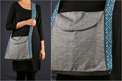 Sling Bag with Handwoven Straps by Manjuri
