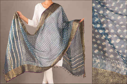 Special Kota Silk Dabu Dupatta with Big Zari Border