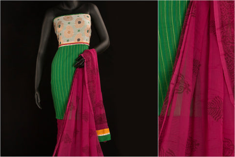 3pc Jaipur Print Cotton Dress Material Set