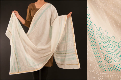 White Maheshwari Silk Dupatta with Akola Print