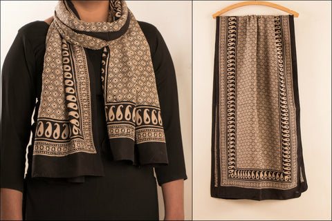 Bagh Block Print Printed Silk Stole