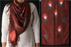 Eucalyptus & Indian Madder Mulberry Silk Stole with Two Diamond Overlap Design