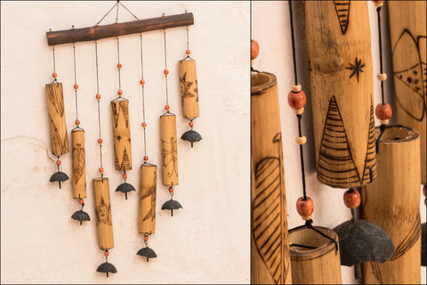 Handcarved Bamboo Wind Chime - 7 Bell