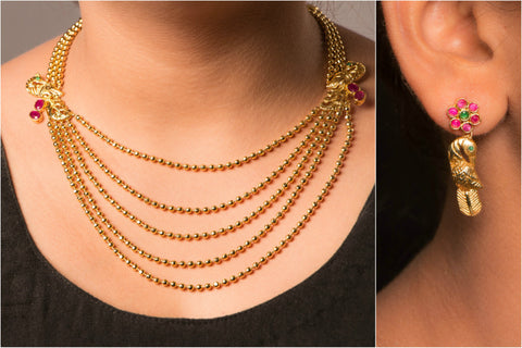 Maharashtrian Gold Plated Necklace Set