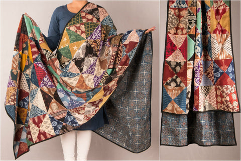 Indigo Patchwork Reversible Ajrak Block Print Cotton Dupatta