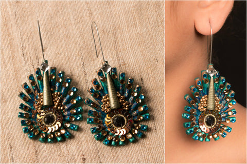 Peacock Without Crystals Earring by Vrinda