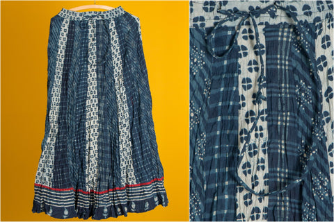 Indigo Block Print Cotton Long Skirt